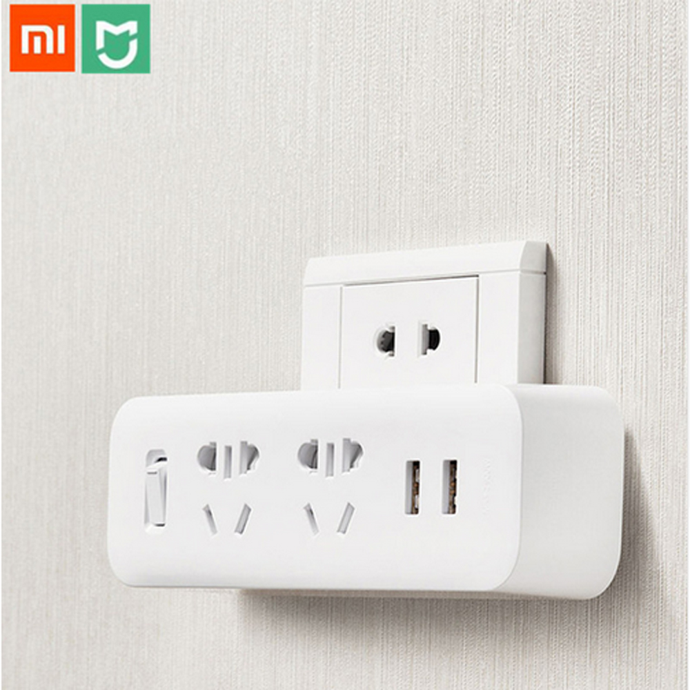 Original Xiaomi Mijia Power Strip Converter Portable Plug Travel Adapter for Home Office 5V 2.1A 2 Sockets 2 USB Fast Charging