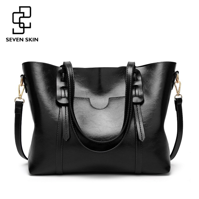 SEVEN SKIN Brand PU Leather Shoulder Bags Female Fashion Designer Handbags Women Shoulder Bags Women's Casual Tote Bag 2018 New seven skin brand women oil wax leather shoulder bags vintage designer handbags female big tote bag women s messenger bags 2017