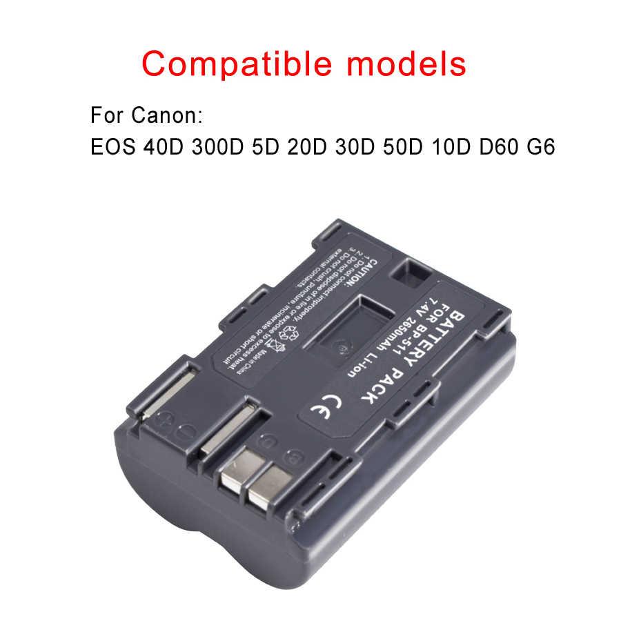 PALO 4PCS 2650mAh BP-511 BP-511A BP 511A per Batterie per Foto/Videocamera BP511 BP 511 per Canon Eos 40D 300D 5D 20D 30D 50D 10D G6 L10
