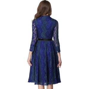 Image 3 - צווארון דוכן בכושר tunique חגור התלקח גלימה חלולה מתוך שרוול ארוך תחרת dress נשים mujer jurken encaje vestidos 2017
