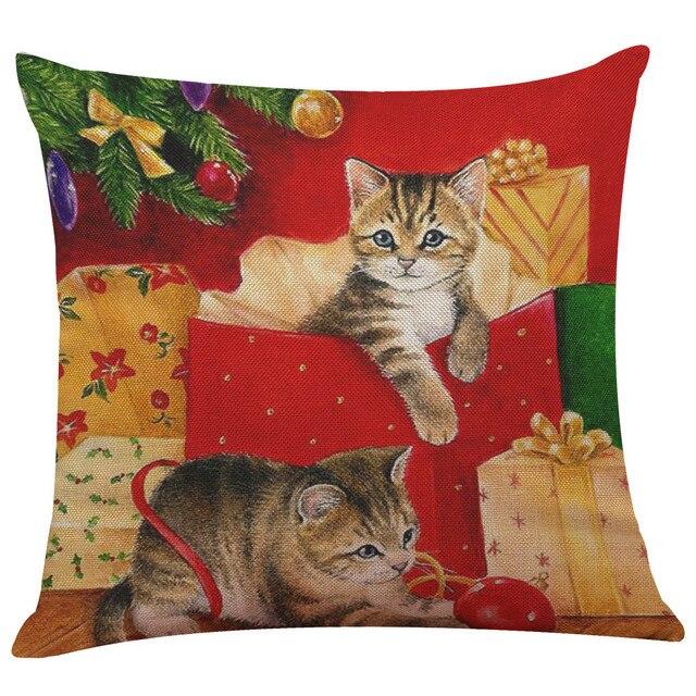 Cute Cat 2017 Nuovo Di Natale di Cotone di Tela Coperture per Cuscini Divano Fod