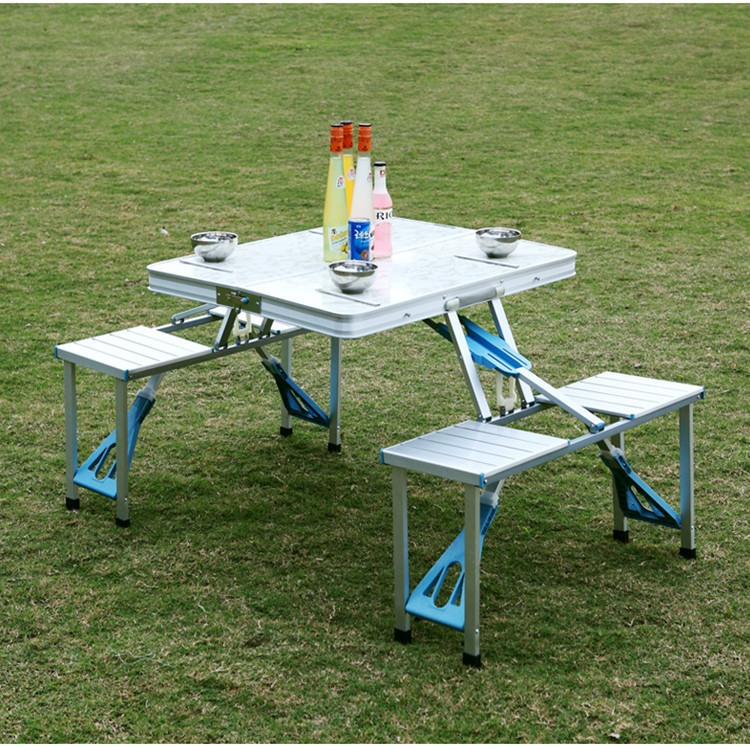 Fold Tables And Chairs Suit Outdoors Aluminium Alloy Conjoined Portable Picnic Table Many People Barbecue Table smartlife high quality outdoor aluminum split folding tables and chairs portable barbecue picnic tables chairs