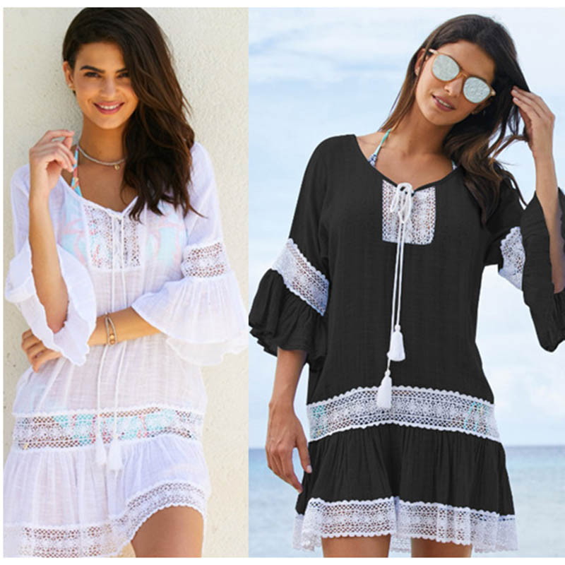 2018 Cotone Tuniche per le del Bikini Delle Donne del Costume Da Bagno Cover up Costumi Da Bagno Donna Beach Cover up Beachwear Pareo Beach Dress Saida de praia