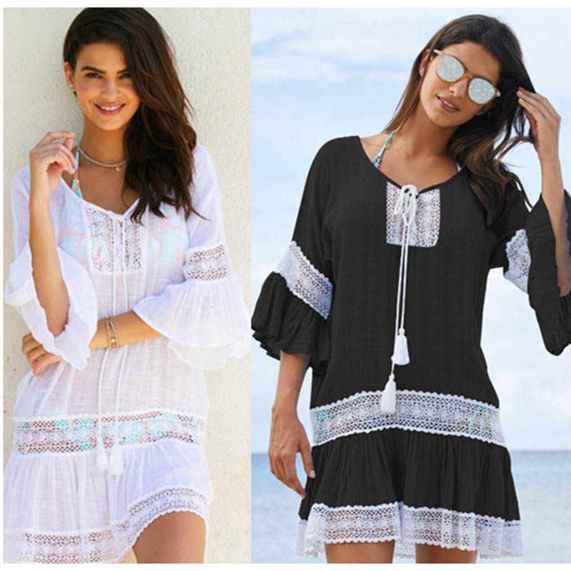 9cfb84bf0a674 2018 Cotton Tunics for Bikini Women Swimsuit Cover up Woman Swimwear Beach  Cover up Beachwear Pareo