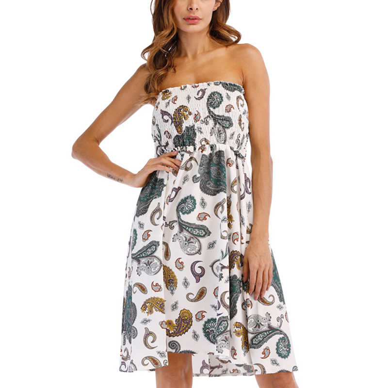 793daeb0b63 2018 Strapless Tube Short Summer Dress Floral Print Off Shoulder Ruched  Wrap Chest Bandeau Beach Dress