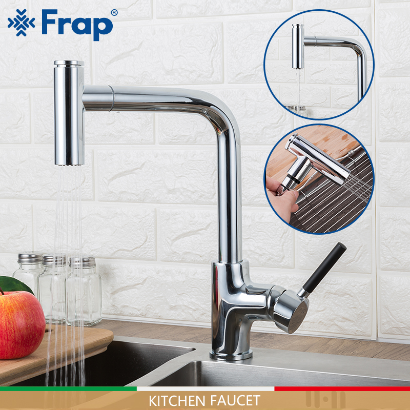 FRAP Kitchen Faucets Pull Out Kitchen Mixer Faucet Water Taps Cold And Hot Faucet 2 Function Spout Sink Taps Torneira