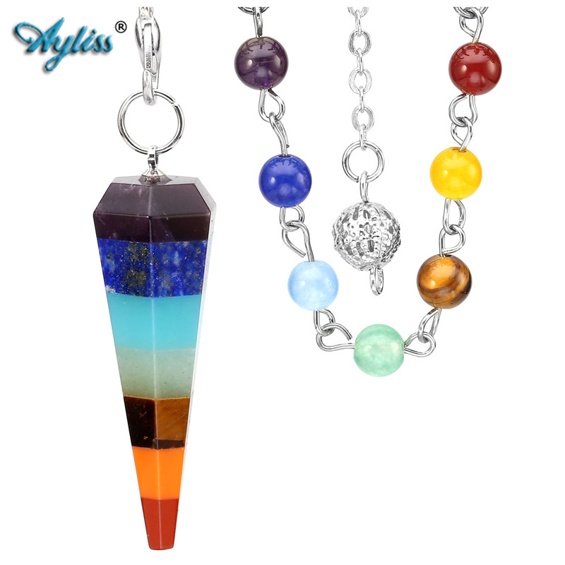Ayliss 7 Chakra Reiki Healing Rabdomanzia Pendolo di Cristallo Hexagon Point Pietre Pendente 7.5