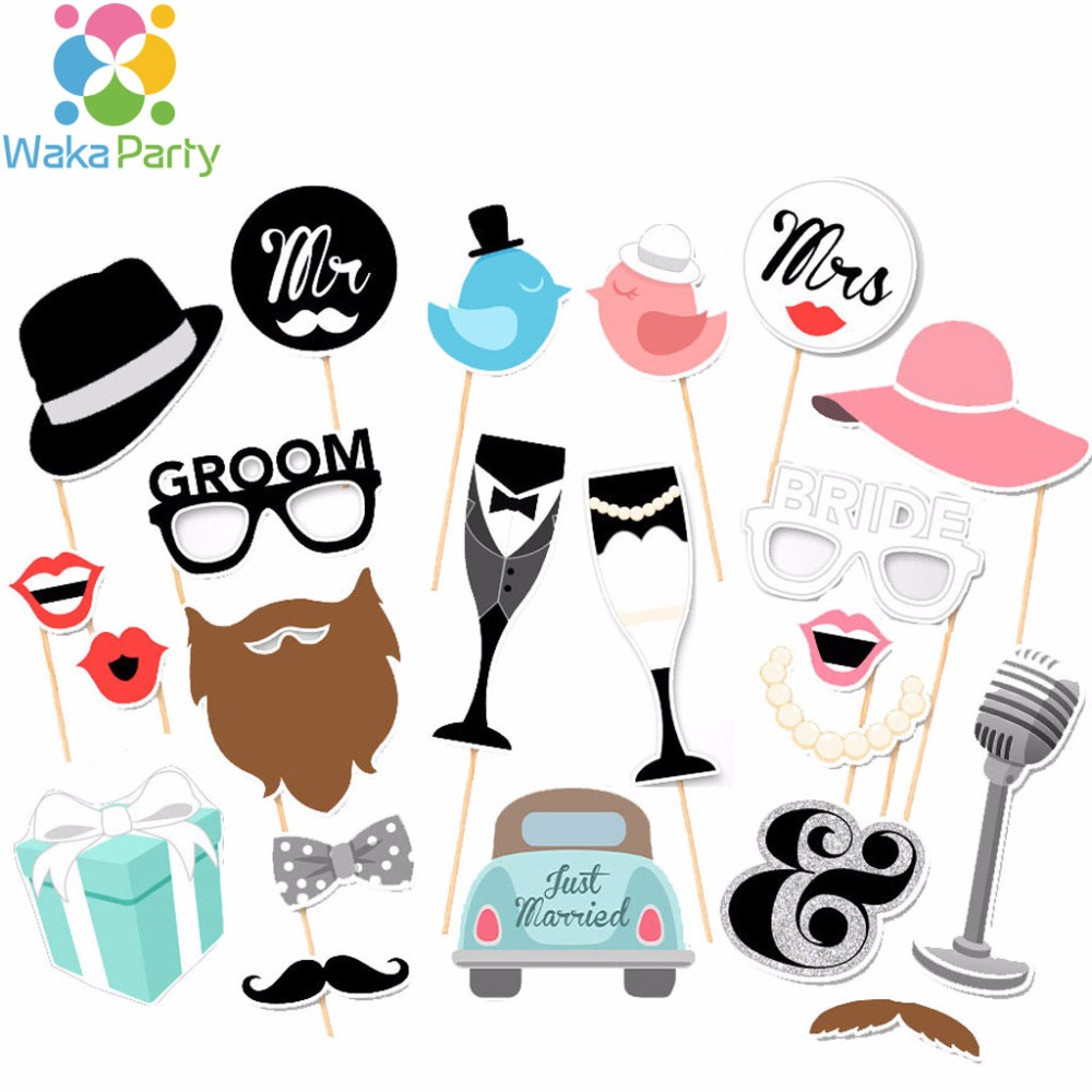 Set Of 22 Fun Wedding Photo Booth Props On A Stick Mr And Mrs Just
