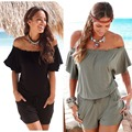 Women's off  shoulder Loose bohemian short sleeve stretch beach playsuits pockets pants Rubber string Rompers