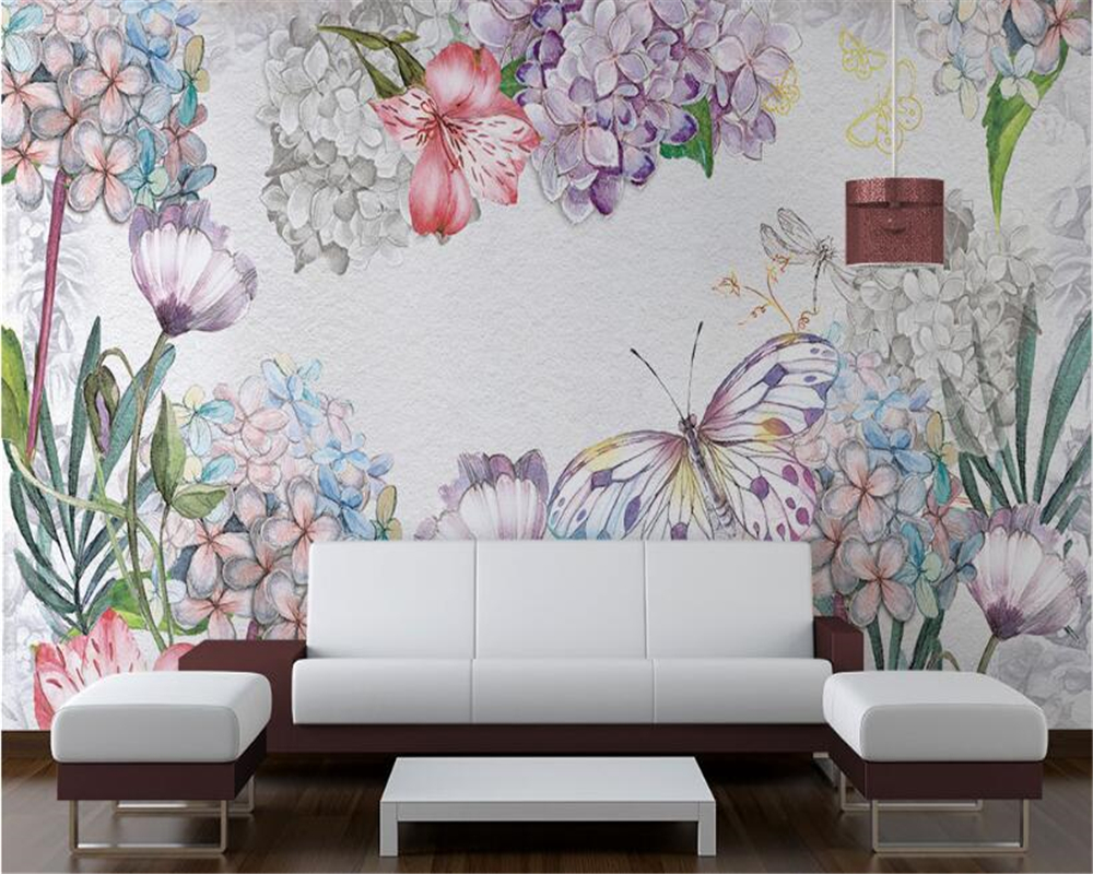 Beibehang Custom High Fashion 3d Wallpaper Fashion Personality European Style Watercolor Floral Background Wall Papier Peint