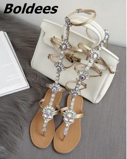 Trendy Design Buckle Straps Flat Sandals Woman Knee High Rhinestone Gladiator Sandal Boot Bohemia Style Crystal Beach Shoes - 2