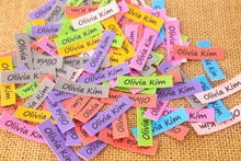 160 aangepaste labels, aangepaste kleding labels, naam labels, strijken labels, Aangepaste kleur (TB295)
