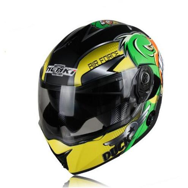 (1pc&9colors) Newest Motorcycle Full Face Helmets Double Lens Flip Up Racing Casco Capacetes Helmet Brand Nenki FF835 nenki motorcycle helmet women full face helmet street bike motor motorbike racing modular flip up dual visor sun shield lens 835