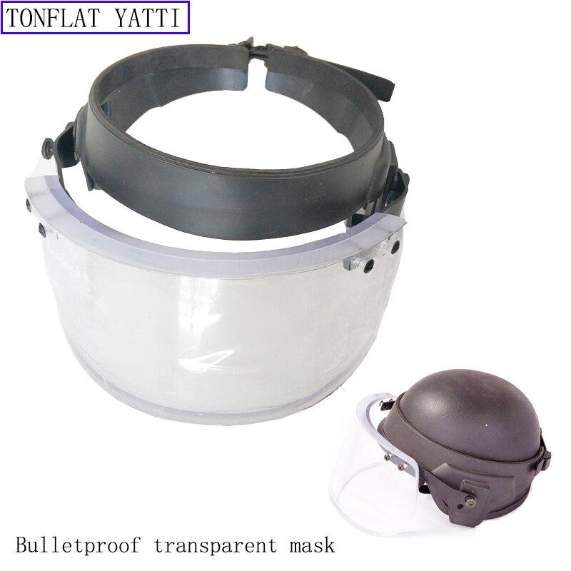 Bullet Proof Glass Face Shield Military Tactical NIJ IIIA Transparent Bulletproof Quick Dismantling Self-defense SWAT Mask
