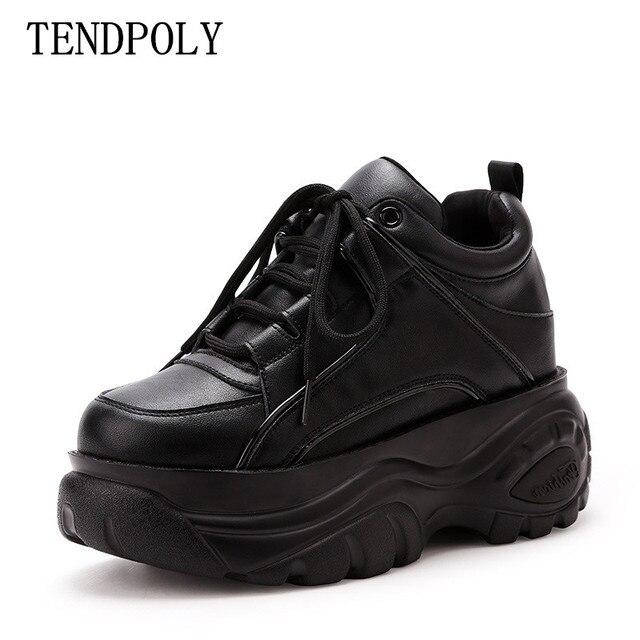 Yeni moda spor kadın botları sonbahar kış Kalın alt artan 6.5 CM rahat kadın Patik bağlama Kadın ayakkabı