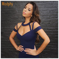 2016 New Women Hollow Out V Neck Sexy Bandage Dress Summer Style Fashion Spaghetti Strap Halter