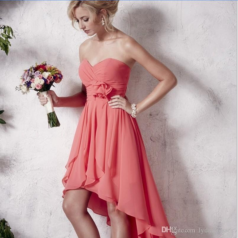Strapless Coral High Low Bridesmaid Dresses 2015 Short