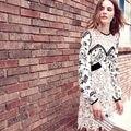 [NWT] SP Branco Rendas Patchwork Chiffon da Longo-luva das Mulheres Vestido de 2016 Mulheres de Outono vestido Feminino Vestido Mini