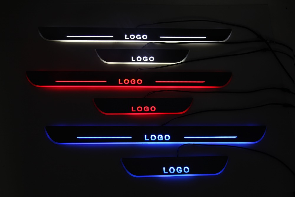 Qirun customized led moving door scuff plate sill overlays linings threshold welcome decorative lamp for Land Rover Defender 110