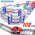 140 unids cena grande DIY Assemb Ranuras de Off-road Del Vehículo Eléctrico 3D Vagones de ferrocarril 3 Capas Kit Ranura Espiral Montaña Rusa Pista Infantil regalo