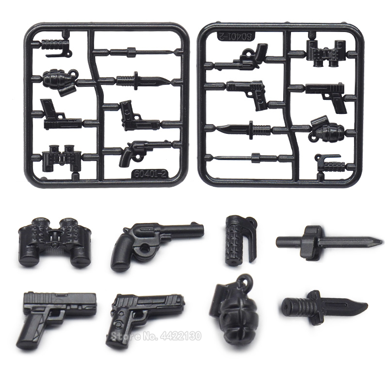 Weapons Military Special Policemen Lot Building Blocks Figures Mini Basis Firearms Model Force Pubg ww2 Gift TOYS With Legoingly