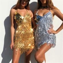 Parlak seksi kadın pullu Fringe elbise yaz Raves festivaller kıyafeti v yaka Backless dantel up Mini parti elbise eldiven