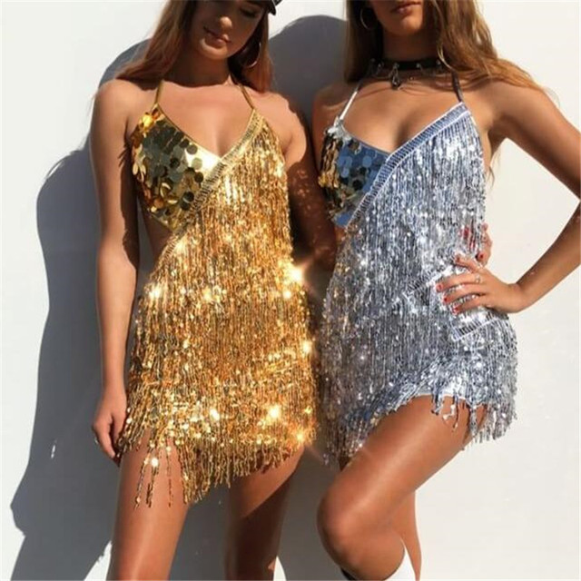 Shiny Sexy Vrouwen Sequin Fringe Jurk Zomer Raves Festivals Outfit V hals Backless Lace up Mini Party Jurk met Handschoenen