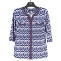BFDADI Ropa Casual 2016 Otoño T shirt Tops Botón de patrón geométrico Cuello Redondo Camiseta más tamaño 2858