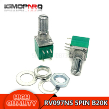 5pcs RV097NS B20K 20k 5PIN single linked potentiometer with a switch audio amplifier sealing potentiometer  RV097NS-B20K