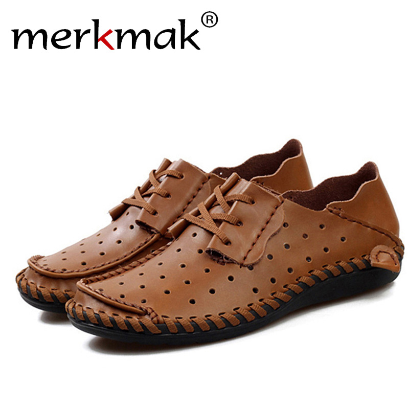 Merkmak Genuine Leather Men Flats Shoes Fashion Oxford Breathable Shoes Hollow Out Summer Loafer Casual Slipper Outdoor Shoes