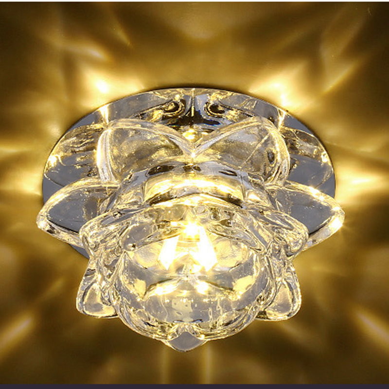POTENCO 3W/5W Crystal Lotus Ceiling Lamps For The Living Room Modern LED lighting Ceiling Lights Bedroom Plafondlamp luminaire modern multicolour crystal ceiling lights for living room luminarias led crystal ceiling lamp fixtures for bedroom e14 lighting