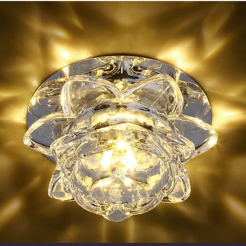 POTENCO 3W/5W Crystal Lotus Ceiling Lamps For The Living Room Modern LED lighting Ceiling Lights Bedroom Plafondlamp luminaire