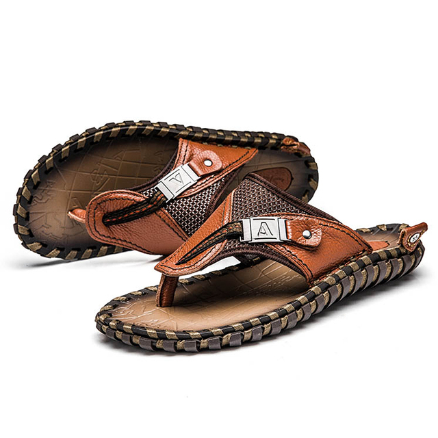 Brand Men's Flip Flops Genuine Leather Luxury Slippers Beach Casual Sandals Summer for Men Fashion Shoes New 2018 Big Size 48 4