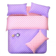 purple pink dots bedding set polka dot full queen size double doona quilt duvet cover cotton