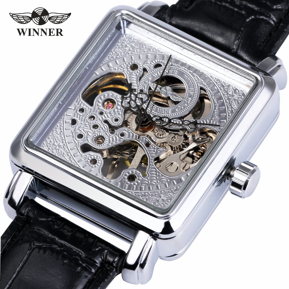 WINNER Top Brand Luxury Men Steampunk Skeleton Mechanical Watch Black Leather Strap Watch Rectangle Case Unique Design Watches
