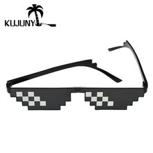 KUJUNY Deal With It Thug Life Sunglasses Small Frame Mosaic Coded Pixel Sun Glasses8 bits Eyewear Women Men Around the World(China)