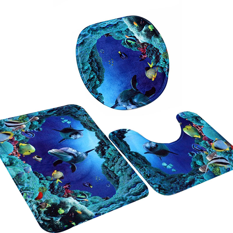 Fashion 3pcs Set Shark Blue Household Pedestal Rug Bath Mat Lid Toilet Potty Seat Covers