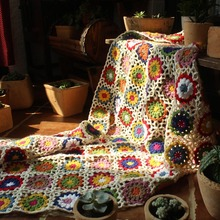 hot sale Chinese handmade original Hand hooked fashion crochet blanket cushion felt pastoral style gift