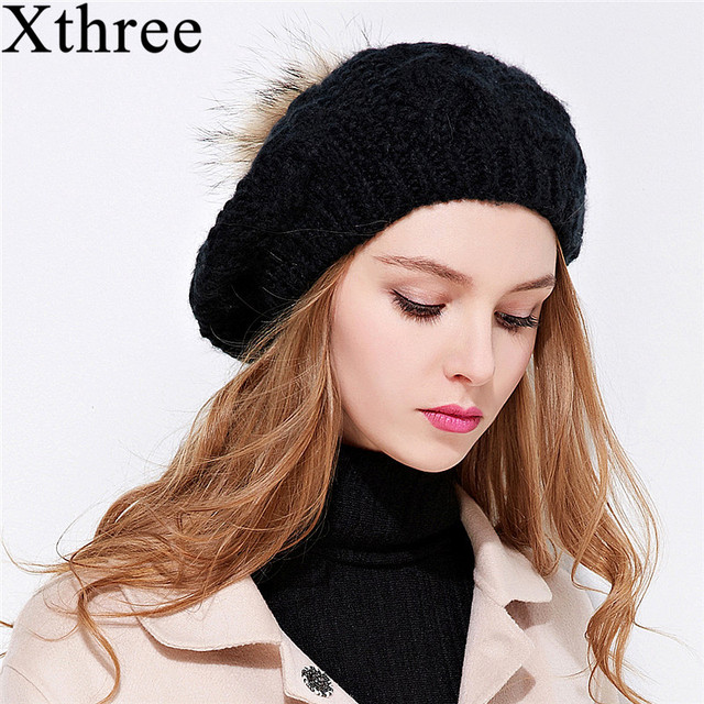 3eb4adab393 Xthree New knitted beret hat with raccoon fur pom pom winter hat for women  girl solid fashion cap spring