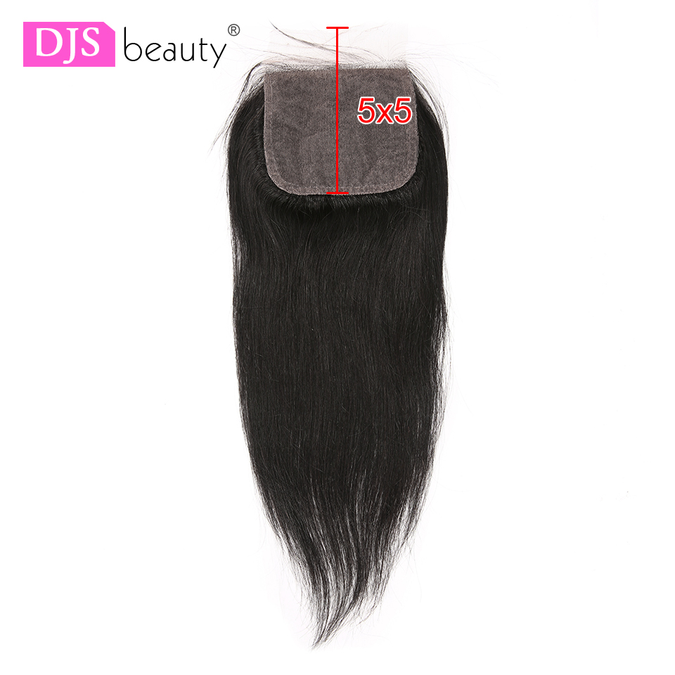 Silk Base Closure Free Part 5x5 Lace Closure Brazilian Straight Human Remy Hair Swiss Lace Closure