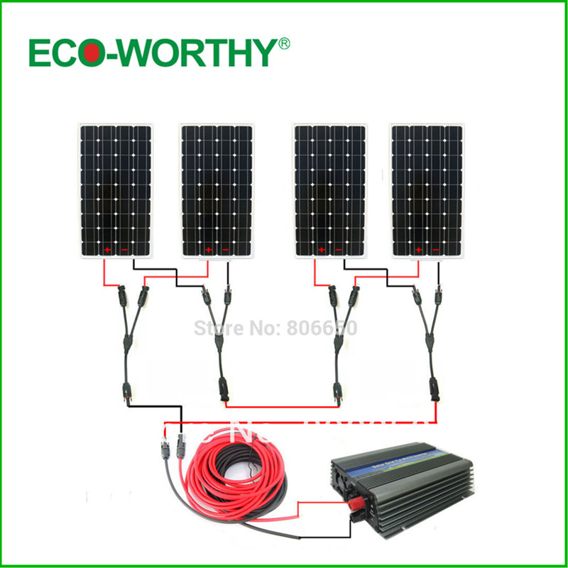 Large EU style hme solar panel systerm:600w 4*150w mono solar panel system with 500W 24v/230v grid tie invertor$# * семена флокс эльф 0 1г