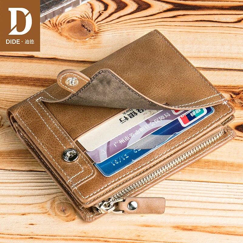 DIDE Coin Purse Zipper Wallet Unique-Design Genuine-Leather Card-Holder Vintage Man Soft