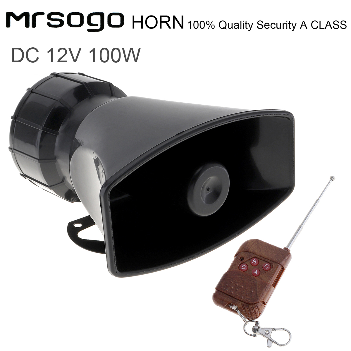 7 Sound 100W For Loud Car Warning Alarm Police Fire Siren Air Horn PA Speaker
