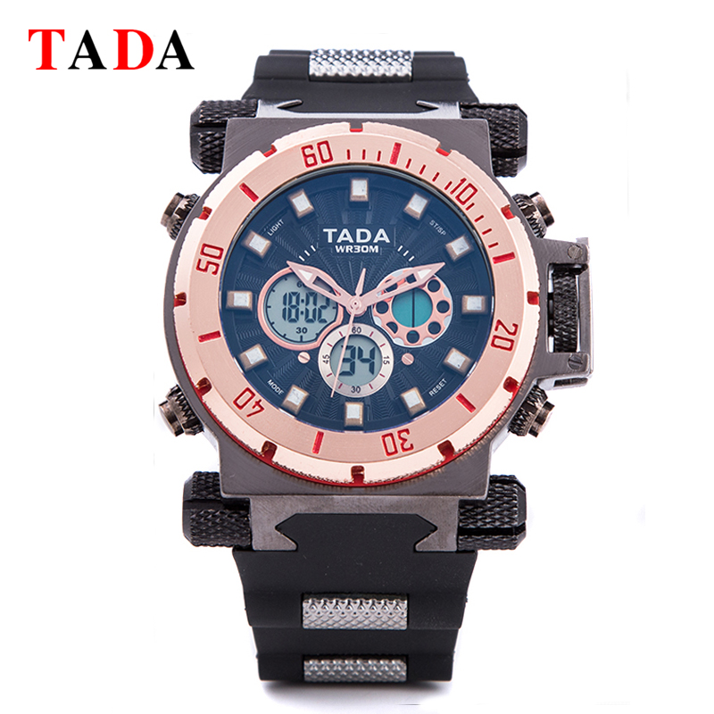 Top Luxury Brand TADA Sport Military Watch Digital Quartz double movement Mens Watches Male Wrist Watch