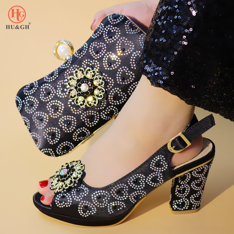 2019 Green Color Ladies Shoes with Matching Bags Set Shoe and Matching Bag for Nigeria Party African Wedding Shoes and Bag Set - 3