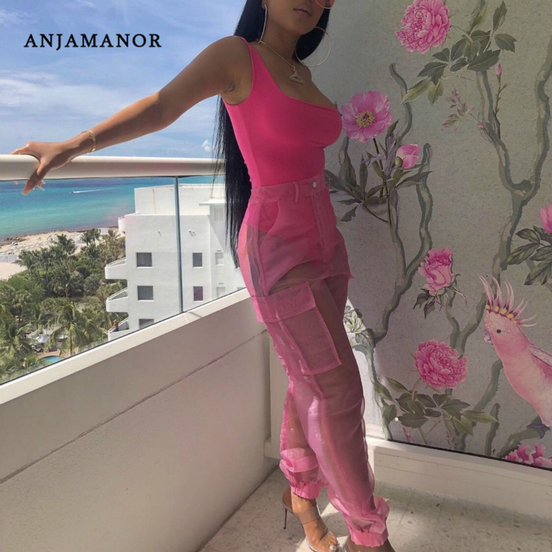 ANJAMANOR Sexy Two Piece Set Bodysuit Top And Mesh Pants Neon Pink Green Summer 2 Piece Club Outfits Matching Sets D59-AB72