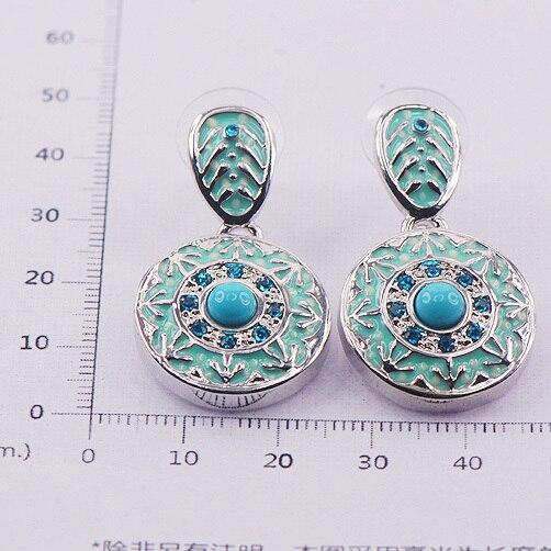 Turquoise Enamel 925 Sterling Silver Crystal Earrings TE407