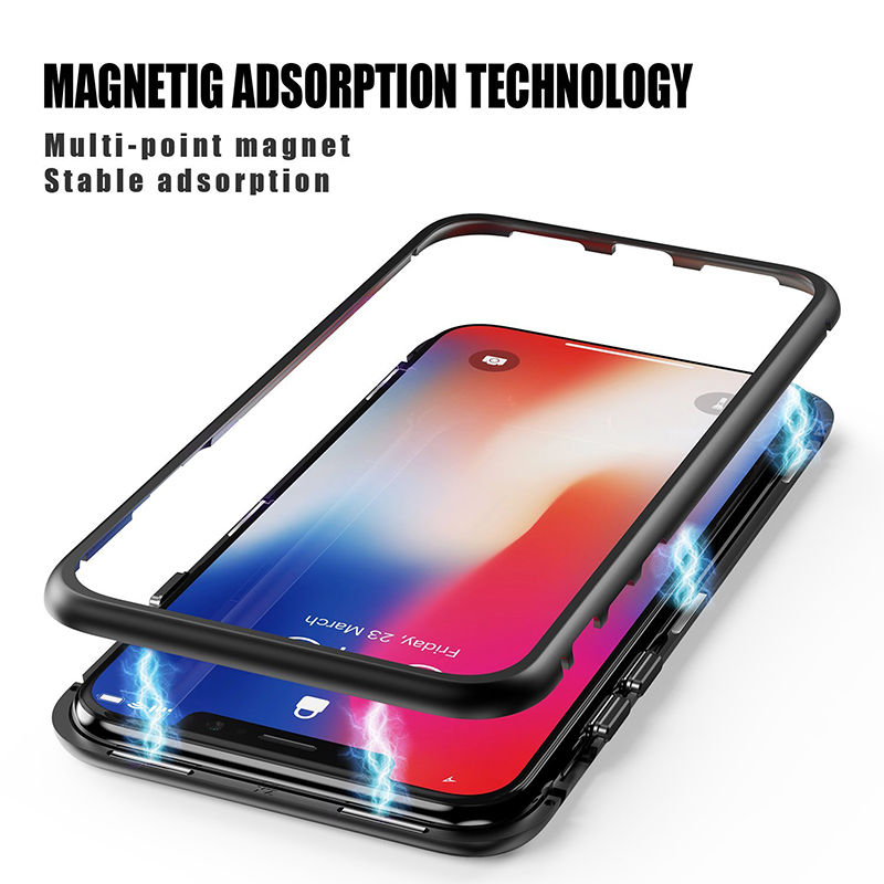 Suntaiho magnetic adsorption case for iPhone XS MAX case for iPhone X 7 8 plus case XR Magnetic Tempered Glass back Phone Case