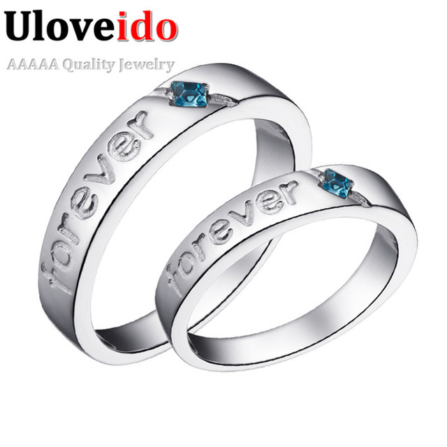 Wedding Engraved Couples Promise Finger Letter Vintage Engagement personalized Rings Blue Stone Jewelry for Woman Man J272