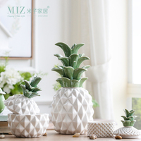 Miz 1 Piece   Storage     Jars   Suger Bowl Pineapple   Storage     Bottle   With Cover Ceramic   Jar   Household Container Figurines